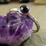 Amethyst sterling silver stack ring