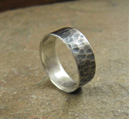 mens hammered silver wedding band