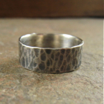 Rustic Hammered Sterling Silver Men's Ring