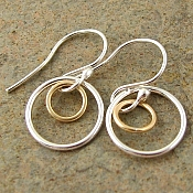Mixed metal sterling silver & gold filled dangle earrings. Modern jewelry