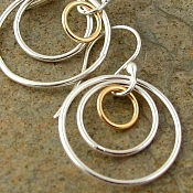 Sterling silver & gold filled circle earrings