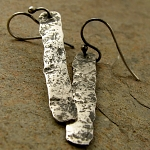 cold forged, oxidized sterling silver bar earrings. stepping stones