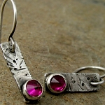 Earrings with lab ruby, distressed grunge tabs in sterling silver