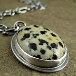 Necklace with Dalmation Jasper  oxidized sterling silver