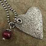 Necklace with rustic sterling heart, ruby gemstone