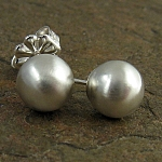 Sterling silver ball stud earrings in a sleek contemporary satin finish