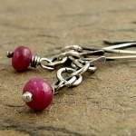 Ruby oxidized sterling silver chain dangle earrings