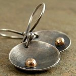 Disc earrings in solid 14kt gold, black sterling silver