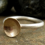 Stacking ring in solid 14kt gold, brushed satin finish sterling silver