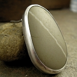 Olive green Greek beach stone sterling silver necklace