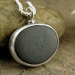 Black beach stone from Greece, sterling silver necklace