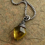 brazilian olive quartz chubby leaf gemstone oxidized sterling silver necklace