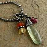 Necklace with green kyanite spike, rhodolite garnet, carnelian & citrine, sterling silver
