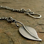 rustic leaf necklace in oxidized sterling silver
