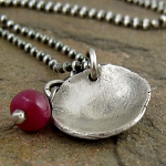 Organic recycled sterling silver cupped disc, ruby gemstone necklace