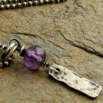Amethyst gemstone, hammered sterling bar necklace
