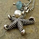 Just beachin'. Beach charm, pearl, apatite gemstone cluster necklace