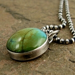 natural turquoise button oxidized sterling silver necklace