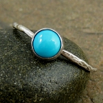 Silver stack ring Sleeping Beauty turquoise, hammered oxidized
